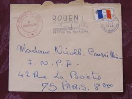 France 1968 Military Cover Genie Rouen (museum Slogan) (Vaguemestre Cancel)  To I.N.P.E. Paris - Flag - Franchise Militaire (timbres)