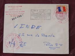 France 1968 Military Cover Genie Paris (postal Jobs Slogan) (Vaguemestre Cancel) To I.N.P.E. Paris - Flag - Franchise Militaire (timbres)