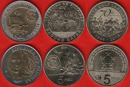 Philippines Set Of 3 Coins: 5 - 10 Piso 2014 UNC - Philippines