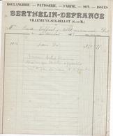 77 VILLENEUVE-SUR-BELLOT - Boulangerie Pâtisserie BERTHELIN-DEFRANCE - Facture De 1922 - France