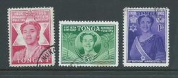 Tonga 1950 Queen Salote Birthday Set Of 3 FU - Tonga (...-1970)
