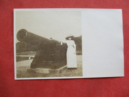 RPPC Female By Large Cannon>  Ref 3256 - Postcards
