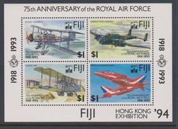 Fiji SG MS 888 1994 Air Force MS Opted Hong Kong 94 ,Miniature Sheet,mint Never Hinged - Fiji (1970-...)