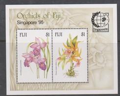 Fiji SG MS 929 1995 Orchids MS Opt Jakarta 95 ,Miniature Sheet,mint Never Hinged - Fiji (1970-...)