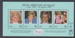 Fiji SG MS 1014 1998 Princess Diana ,Miniature Sheet,mint Never Hinged - Fiji (1970-...)