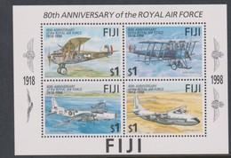Fiji SG MS 1019 1998 RAF 80th Anniversary ,Miniature Sheet,mint Never Hinged - Fiji (1970-...)