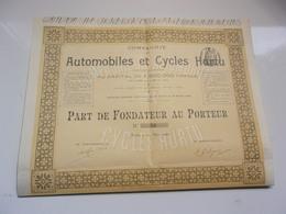 AUTOMOBILES ET CYCLES HURTU (fondateur) 1899 - Actions & Titres