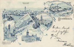 AK - Tschechien - Litho BUDWEIS - Bürgerl.-Brauhaus - Bleistiftfabrik Hardtmuth, ..... 1900 - Tschechische Republik