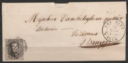 """L. Affr N°6 Càd """"THO ROUT/15 MARS/1858"""" Pour BRUGGE +boîte """"Y"""" - 1851-1857 Medallions (6/8)"""