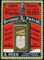 Hüningen, Basel, Paris: Miers Brennessel-Petrol Reklamemarke - Vignetten (Erinnophilie)