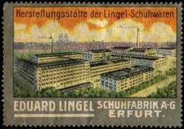 Erfurt: Fabrikansicht Lingel-Schuhwaren Reklamemarke - Cinderellas