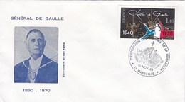 Enveloppe Genéral Charles De Gaulle Cachet 7e Exposition Ordres De La Libération Marseille 1983 Arc De Triomphe Paris - Andere