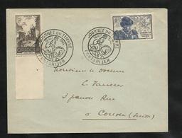 Lettre Pour La Suisse De Pontarlier Le 13/10/1945 Premier Jour Des Timbres N°742 Et 743 ! ! !   Cachets Illustrés  B/TB - ....-1949