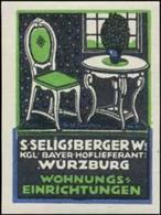 Würzburg: Möbel Wohnungseinrichtungen Kaufhaus Reklamemarke - Erinnophilie