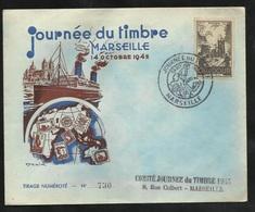 Lettre Illustrée Numérotée Marseille Le 13/10/1945 Premier Jour Du N°742  Cachet Illustré Journée Du Timbre 1945  B/TB - ....-1949