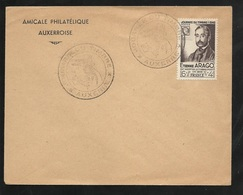 FDC Lettre Premier Jour Amicale Phil. Auxerre Le 06/03/1948 N°794  Arago Cachet Illustré Journée Du Timbre 1948  B/TB - ....-1949