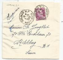 GANDON 10FR VIOLET SEUL BANDE COMPLETE COLMAR RP 9.9.1949 POUR SUISSE AU TARIF PEU COMMUN - 1945-54 Marianne (Gandon)