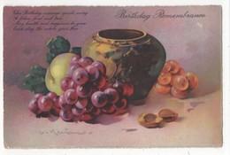 C Klein Grapes & Vase Birthday Remembrance Regent 600 Vintage Art Postcard - Klein, Catharina