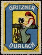 Durlach: Gritzner Nähmaschine Reklamemarke - Erinnofilie
