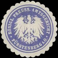 Fürstenberg/Oder: K.Pr. Amtsgericht Fürstenberg/Oder Siegelmarke - Cinderellas