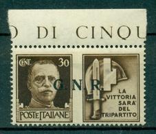 V7680 ITALIA 1944 RSI, GNR Propaganda Di Guerra 30 C. Tir. BS II T., MNH** Ottime Condizioni - 4. 1944-45 Repubblica Sociale