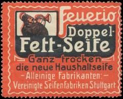 Stuttgart: Feurio Doppel-Fett-Seife Reklamemarke - Cinderellas
