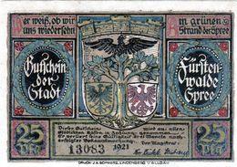 Billet De Nécessité Allemand De 25 Pfennig 1921 - 1918-1933: Weimarer Republik