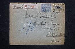 CONGO BELGE - Enveloppe En Recommandé De Léopoldville Pour St Etienne En 1925 , Affranchissement Plaisant - L 26752 - Congo Belge
