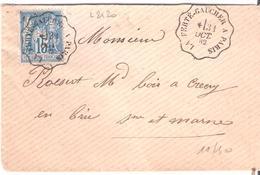 Convoyeur Ligne Type I :- LA FERTE GAUCHER A PARIS 2 Lettres Avec Couronne Différente - Poste Ferroviaire