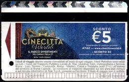 BIGLIETTO AUTOBUS ROMA - ATAC - METREBUS - CINECITTA' WORLD - IL PARCO DIVERTIMENTI DEL CINEMA E DELLA TV - Autobus