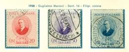 V9719 ITALIA REGNO 1938 Marconi, Usati, Serie  Completa, Buone Condizioni - Used