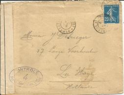 1907 - N°140 Oblitéré Sur Lettre Censurée Vers La HOLLANDE - France