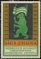 Mainbernheim: Bären-Lebkuchen Reklamemarke - Cinderellas