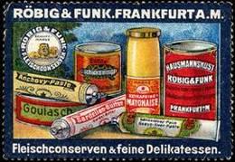 Frankfurt / Main: Fleischkonserven & Feine Delikatessen Reklamemarke - Erinnophilie