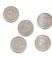 5 Pieces De 5 Francs Morlon Alu 1945/46/47/49/49B - France