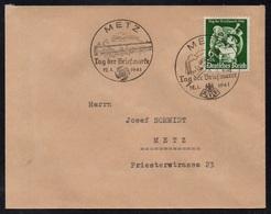 METZ - MOSELLE / 1941 - 2 OBLITERATIONS DIFFERENTES JOURNEE DU TIMBRE SUR LETTRE (ref 7842) - Alsace-Lorraine