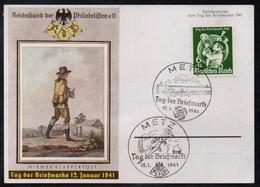 METZ - MOSELLE / 1941 - 2 OBLITERATIONS DIFFERENTES JOURNEE DU TIMBRE SUR CARTE POSTALE OFFICIELLE (ref 7843) - Alsace-Lorraine