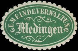 Medingen: Gemeindeverwaltung Medingen Siegelmarke - Erinnofilie