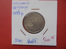 """DEUTSCHES REICH 20 PFENNIG 1888 """"G"""" SUPERBE+++ PEU COURANTE - [ 2] 1871-1918 : German Empire"""