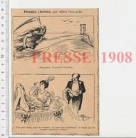 Presse 1908 Humour Notion Du Temps Qui Passe Fauche-la-mort Faux Vieilard Sablier Maquillage Femme Poudre De Riz 223CHV6 - Alte Papiere