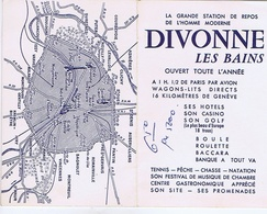 AIN - DIVONNE Les BAINS + Plan Et Métro De Paris - Format 8,50 / 10,50 - Publicités