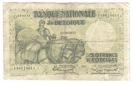Billet 50 Francs / 10 Belgas Belgique 1931 - 02-03-31 - Rare ! - [ 2] 1831-... : Regno Del Belgio