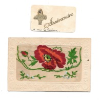 CPA  Anniversaire Tissus Brodée Pochette 1919 . 2 Scan - Brodées