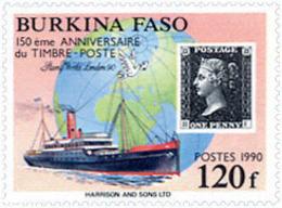 Ref. 137646 * NEW *  - BURKINA FASO . 1990. 150th ANNIVERSARY OF THE FIRST STAMP IN THE WORLD. PHILATELIC  EXHIBITION; L - Burkina Faso (1984-...)