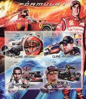 Guine-Bissau 2012  -  Formula 1 -  Alonso-Schumacher-Vettel-Hamilton-Raikkonen- 4v Feuillet Neuf/Mint/MNH - Automobile