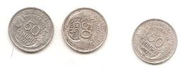 3 Pieces De 50 Centimes Morlon Alu 1941/47/47B - France