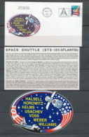 3021 Espace Space Lettre (cover Briefe) USA Start Sts-101 Atlantis 19/5/2000 + Stickers (autocollant) - Etats-Unis