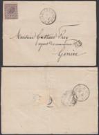 """Belgique - Lettre 22/07/1869 COB 19 Obl. """" Bruxelles-Midi PP """" Vers Genève RR - Verso """" Suisse Midi II """"  (DD) DC2750 - 1865-1866 Profil Gauche"""