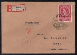 III REICH - METZ - MOSELLE OCCUPEE / 1944 LETTRE RECOMMANDEE AVEC OBLITERATION DE PROPAGANDE (ref 7834a) - Lettres & Documents