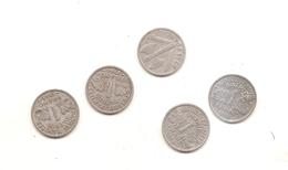 5 Pieces De 1 Franc Francisque 1942/43/44/44B/44C - France